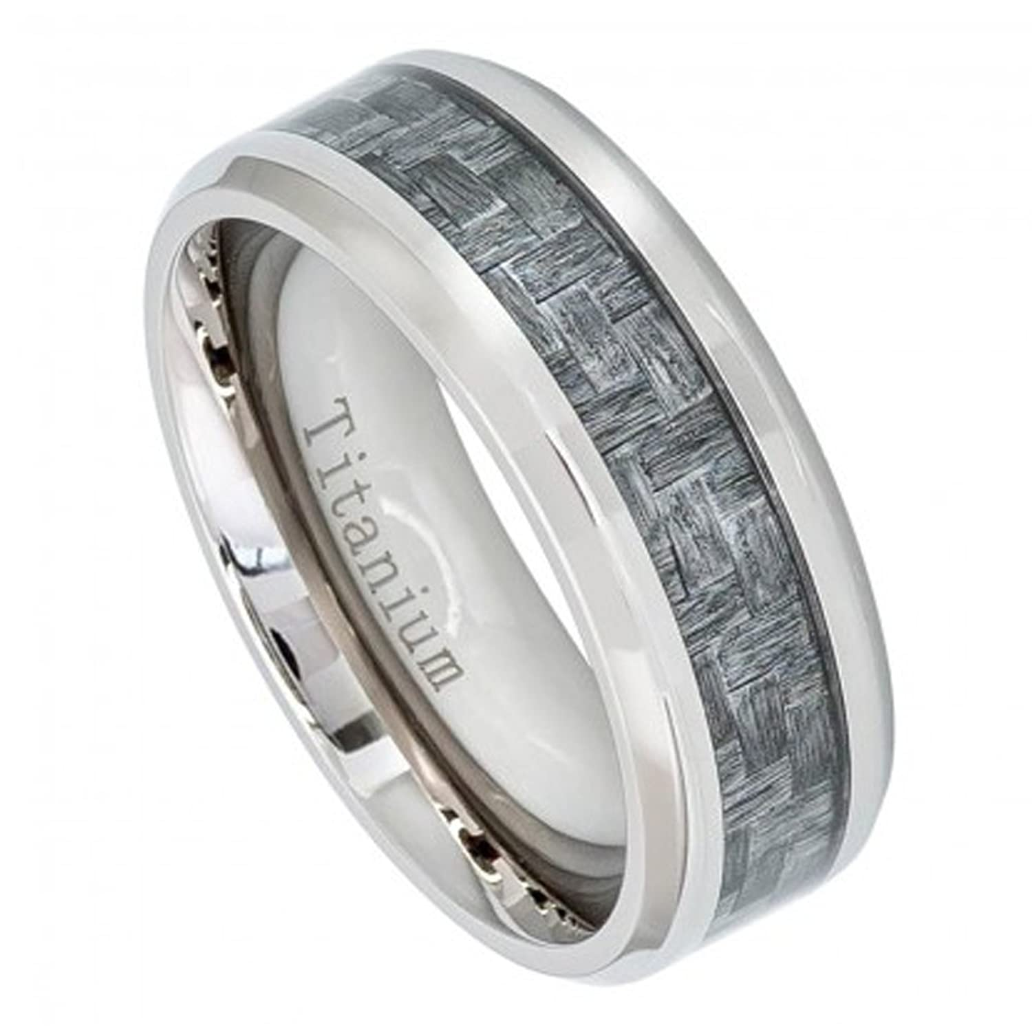 8mm titanium wedding band ring with charcoal gray carbon fiber