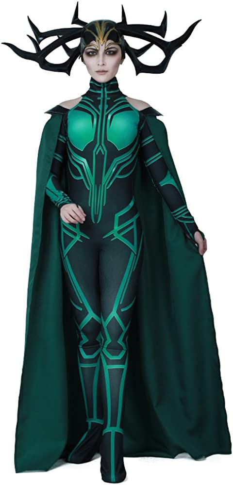 miccostumes Women's Hela Cosplay Costume Halloween Bodysuit with Cape
