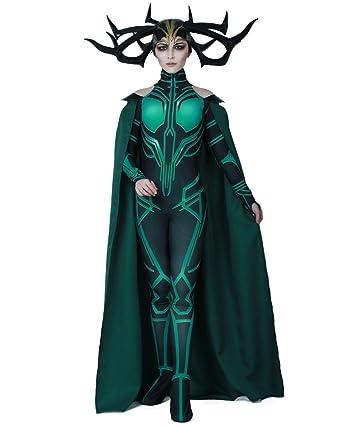 Miccostumes Women s Hela Cosplay Costume Halloween Jumpsuit with Cape 55deec4c8