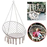 Feiuruhf Macrame Hammock Chair by, 260 Pounds Capacity Portable Hammock Cotton Rope Woven Handmade Knitted Hanging Swing Chair for Indoor Outdoor Home Patio Deck Yard Garden Reading Leisure Lounging