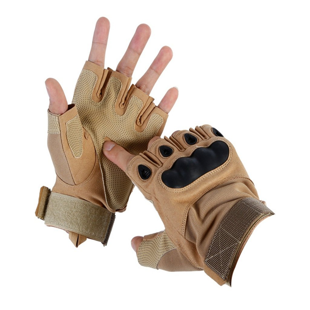 Pothholders mitters Outdoor Cycling Anti-Skid Men's Combat Semifinger Gloves, Khaki for Daily Riders (Size : L)