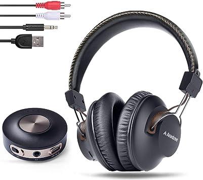 Avantree HT3189 Auriculares Inalambricos TV con Transmisor Bluetooth, Para PC Video juegos, Aux 3.5mm & RCA (NO OPTICA) Sin Retardo de Audio, Largo Alcance, 40 Horas de Batería, PRE-EMPAREJADO: Amazon.es: Electrónica