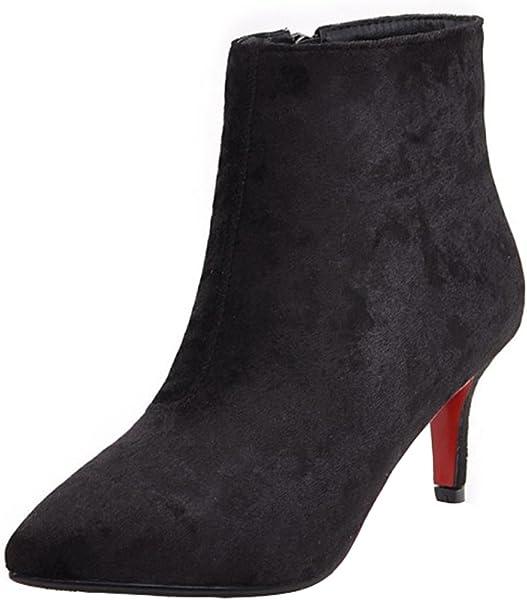 28f9c55c2e21 Mofri Women s Chic Kitten Heel Ankle Booties Pointed Toe Side Zipper Velvet  Short Boots (Black