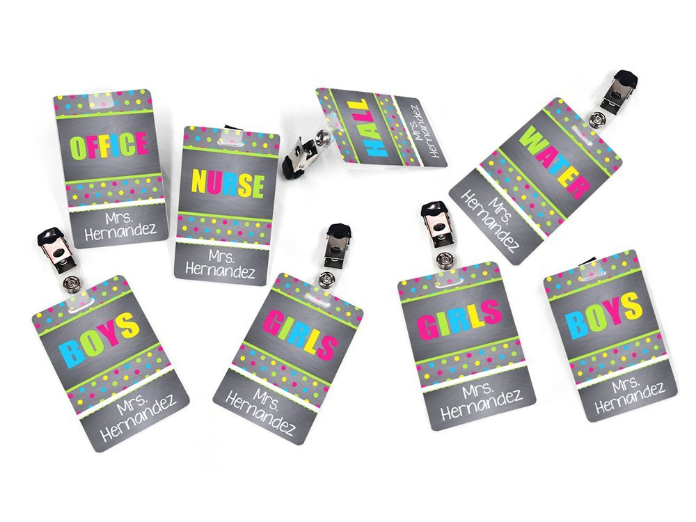 Set of 8 Teachers Hall Passes, Funny Colorful Small Dots, White Letters