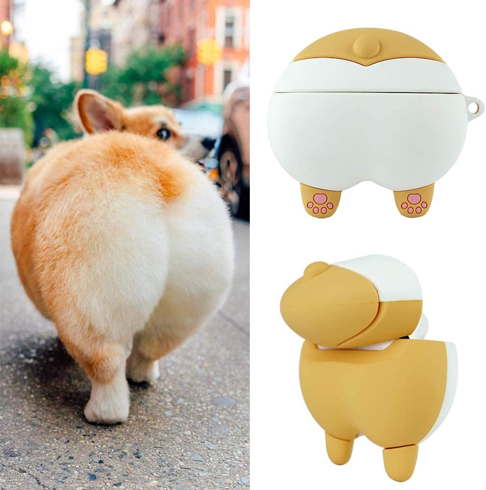 XORDING AirPods Pro Case Cartoon Cover with Plush Keychain 3D Corgi Butt Ass Cute AirPods 3 Case Silicone Skin for Apple AirPods Pro Charging