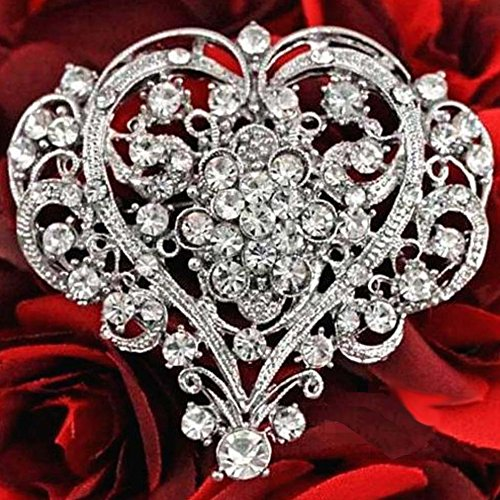 Bejeweled Christmas Large Filigree Flower Heart White Rhinestone Pin 1303