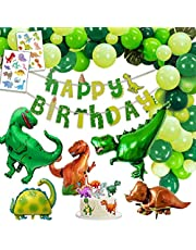 Dinosaurus Verjaardagsversiering Feestje, 1 Gelukkige Verjaardag Banner, 2 Gigantische Dinosaurussen, 3 XXL Dino Balloonen, 2 Set Dinosaurustatoeages, 6 Cake Toppers, 30 Groen Bonte Ballonnen.