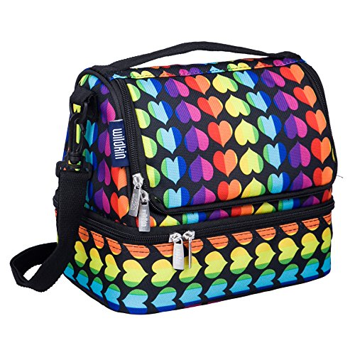 Wildkin Rainbow Hearts Two Compartment Lunch Bag, One Size
