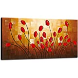 Wieco Art - Large Budding Flowers Modern Stretched and Framed 100% Hand Painted Contemporary Abstract Floral Oil Paintings Artwork on Canvas Wall Art Ready to Hang for Bedroom Kitchen Home Decorations