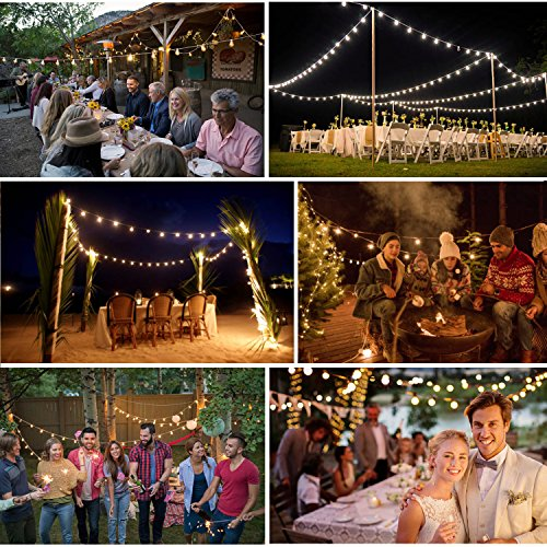 52ft LED Outdoor String Lights Commercial Grade Weatherproof - 20pack 2W Incandescent Bulbs Included - ETL Listed Heavy Duty - 18 Hanging Sockets - Perfect Patio Lights Bistro Market Cafe Lights by FrenchMay (Image #4)