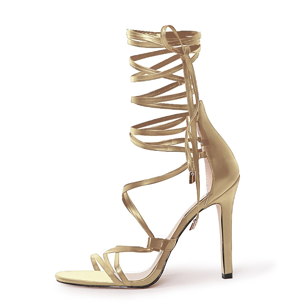 Women's Gold Gladiator Open Toe High-Heels Lace-Up Strappy Sandals - DeluxeAdultCostumes.com