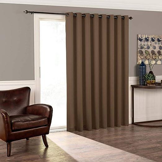 1Pieza 84 Espresso color sólido puerta corredera puerta de cristal cortina de poliéster, ojal, cortinas de diseño moderno contemporáneo, color marrón oscuro corredera Patio Panel de la puerta ventana tratamiento solo Panel: