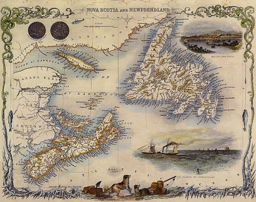 1800'S NOVA SCOTIA NEWFOUNDLAND HALIFAX MAP VINTAGE POSTER WONDERFULITEMS EYE63