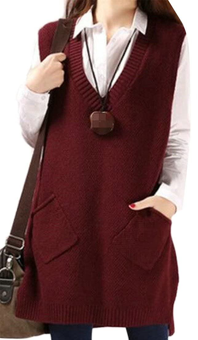Fulok Womens Classic Sleeveless V-Neck Knit Pullover Sweaters Vest
