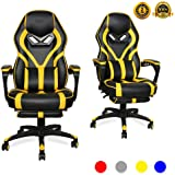 LUCKWIND Video Gaming Chair Racing Recliner - Ergonomic Adjustable Padded Armrest Swivel High Back Footrest with Headrest Lum