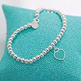 Mini Heart Tag Bead Bracelet Sterling Silver