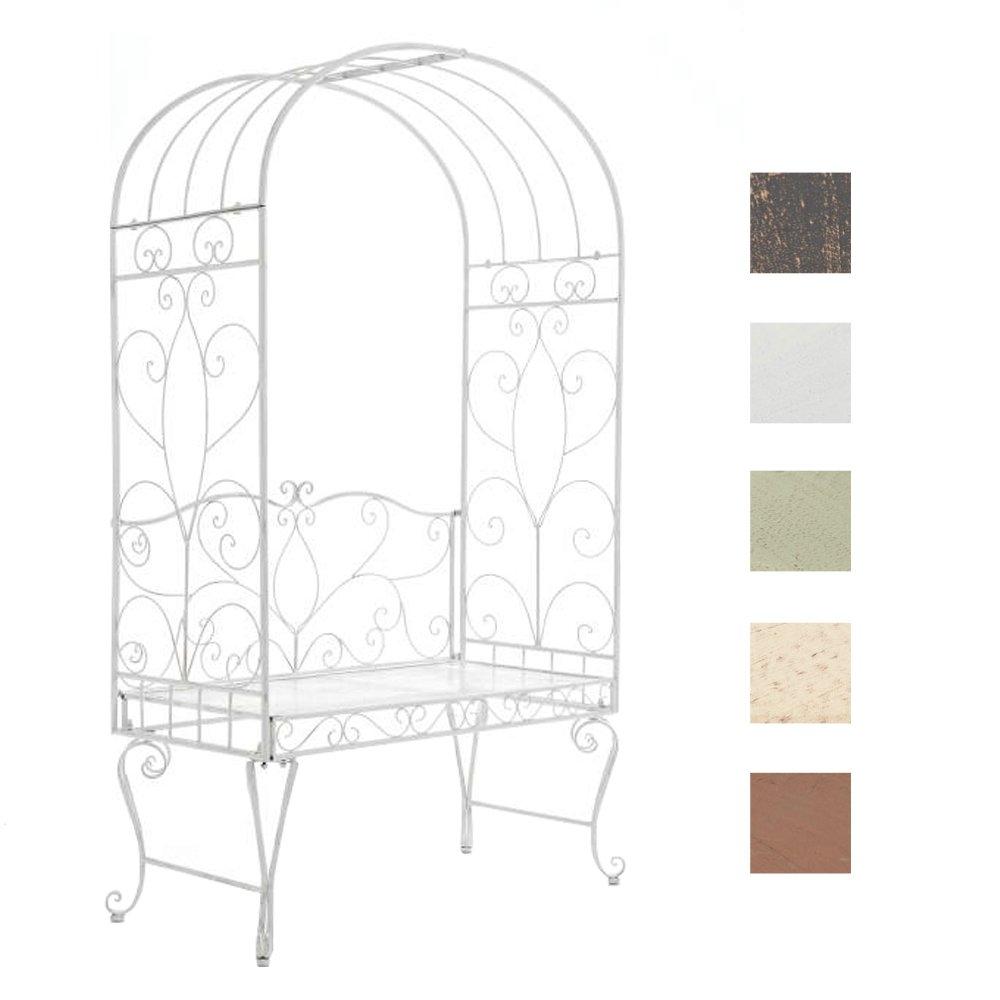 CLP Metall-Rosenbogen mit Bank NOSTY, Eisen pulverbeschichtet, Gartenbank 2er, Sitzfläche 100 x 45 cm antik weiß
