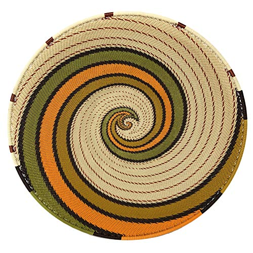 Fair Trade Zulu Telephone Wire 12-inch Platter Basket, African Earth