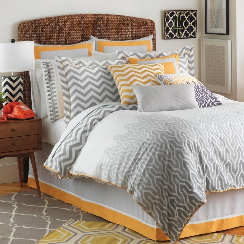Jill Rosenwald Plimpton Flame Comforter Set Full Pearl