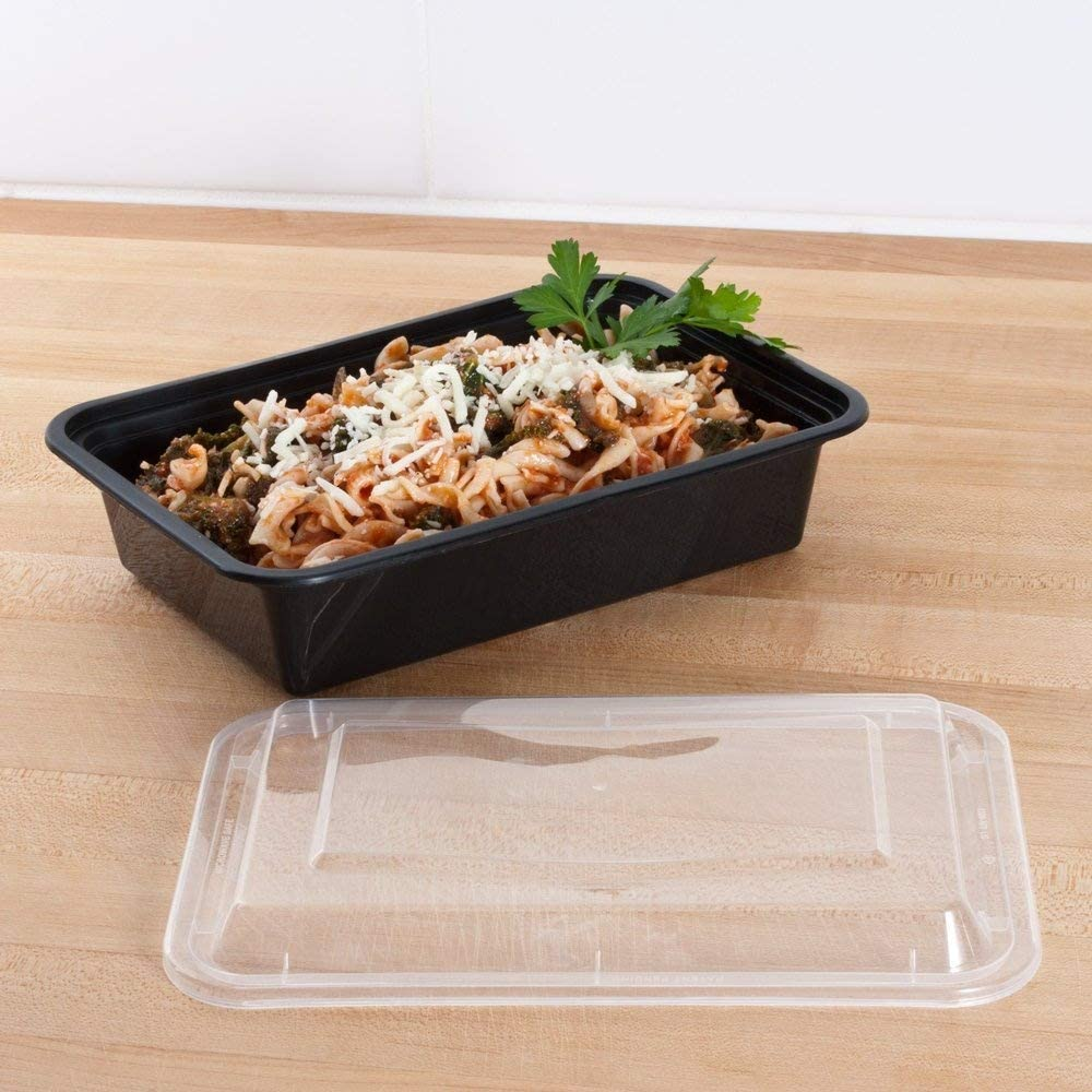 SAFEPRO 38 oz. Black Rectangular Microwavable Container with Clear Lid (Case of 25)