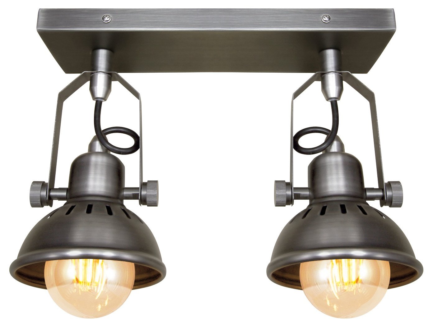 Industrial Vintage Twin Ceiling Light Fixture Dark Grey Pewter finish Brooklyn Style Adjustable Swivel Spot Lights made from Stainless Steel Long Life Lamp Company M005-2C