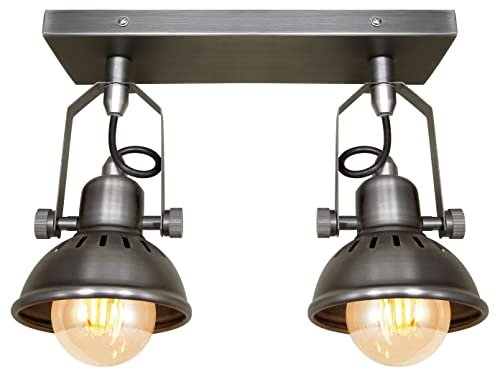 Industrial vintage twin ceiling light fixture dark grey pewter industrial vintage twin ceiling light fixture dark grey pewter finish brooklyn style adjustable swivel spot lights mozeypictures Images