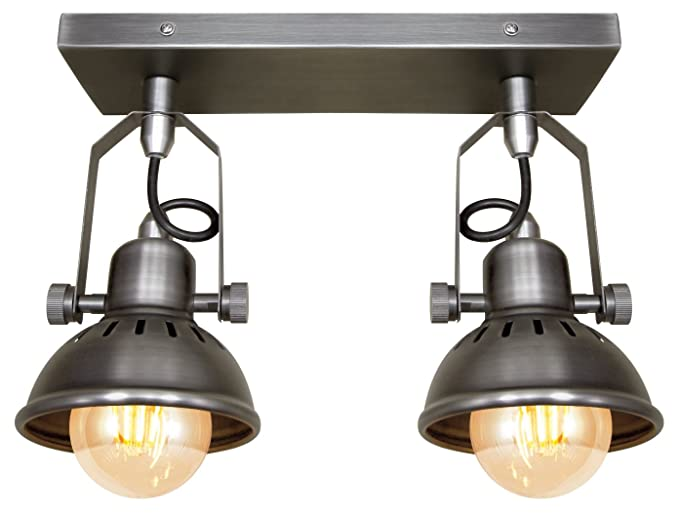 Industrial vintage twin ceiling light fixture dark grey pewter finish brooklyn style adjustable swivel spot lights
