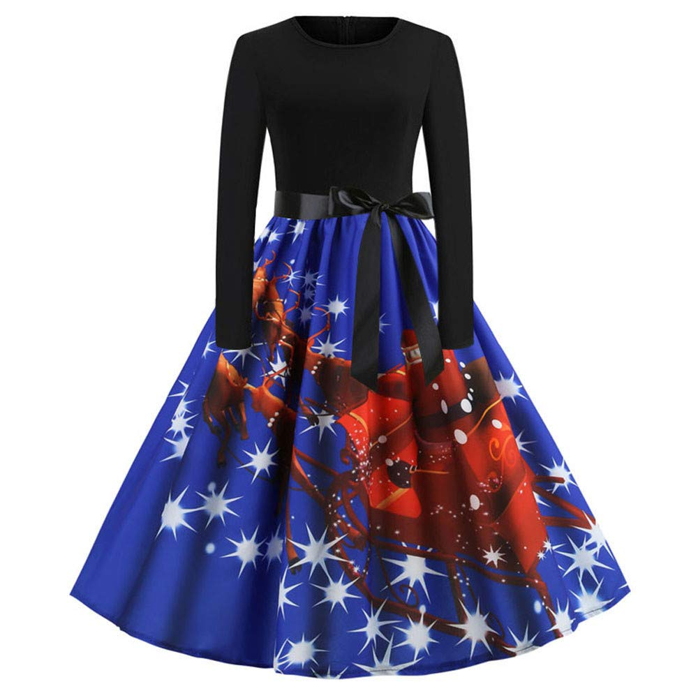 Women Dresses Women's Vintage Christmas O-Neck Printed Party Retro A-Line Swing Dress