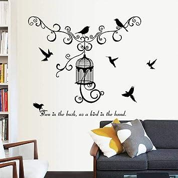 HUDETIE Vinilo Decorativo Jaula De Pájaros Silueta Sala De Estar ...