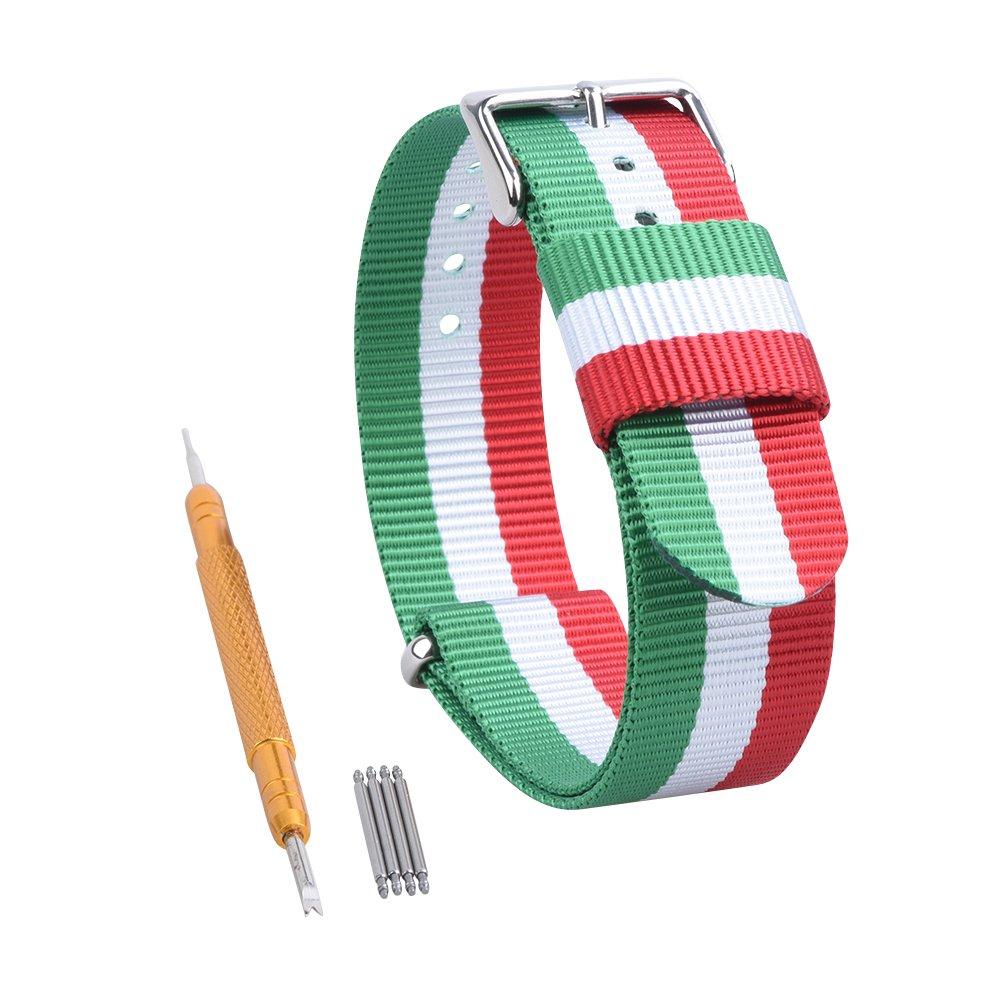 RANDON 腕時計用替えバンド NATO ベルト バリスティックナイロン ステンレス鋼バックル付き 20mm|Red/Green/White Red/Green/White 20mm B01MS8QPGN