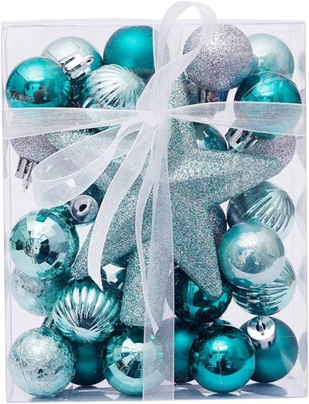 Fannor Christmas Decorations 3cm 30pcs Christmas Balls Tree Top Star Box Set Christmas Tree Pendant Christmas Ornament Ball (Size : Apple Green Silver)