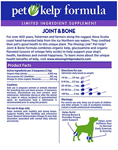 The Missing Link Non-GMO Pet Kelp, Joint & Bone Formula — Limited ingredient Superfood Supplement for Dogs rich in Omegas and with Glucosamine to support healthy nutrition and mobility  — 8 oz. by The Missing Link (Image #2)