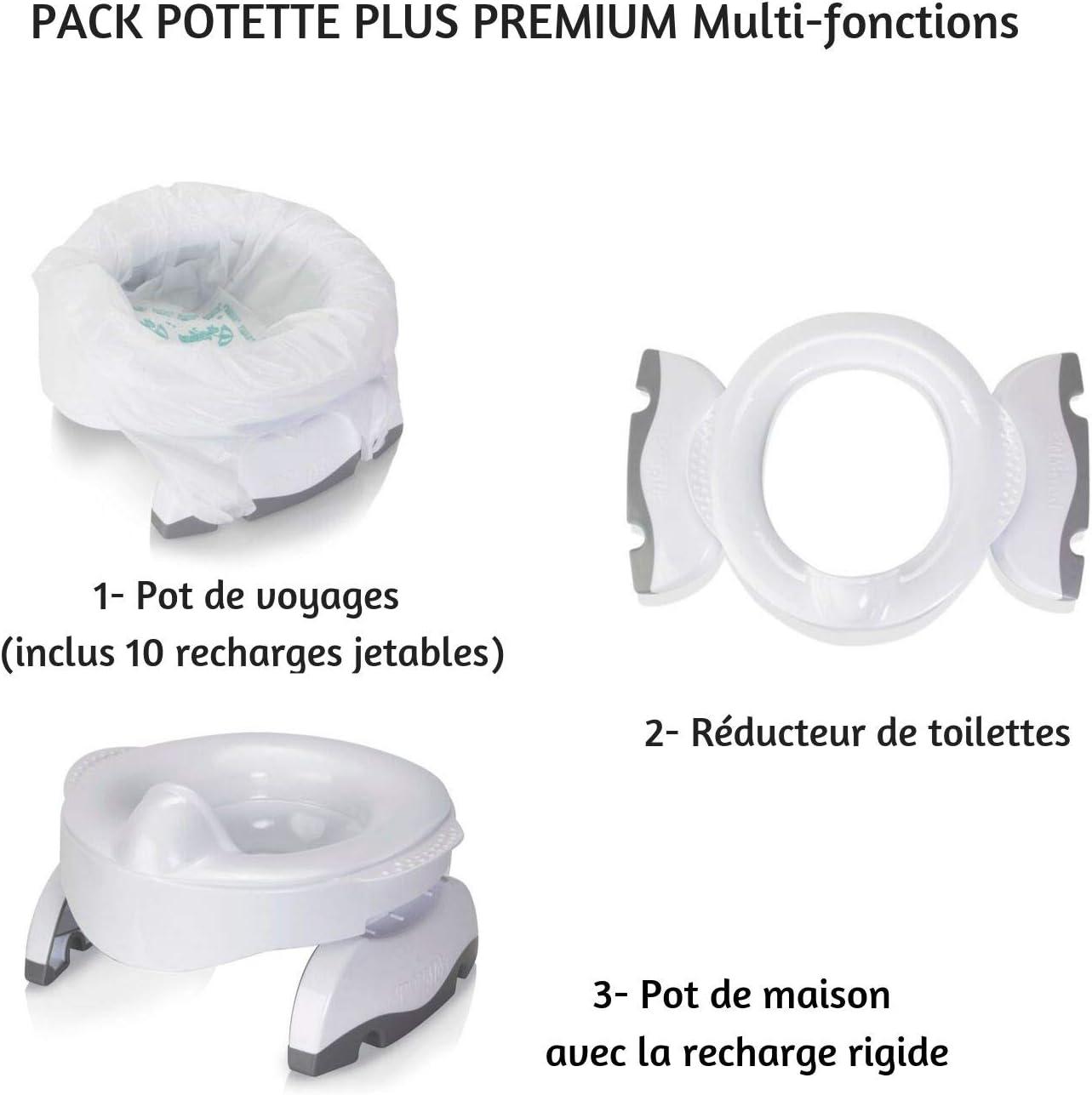 POTETTE PLUS Pot de Voyages//R/éducteur de Toilettes//Maison Gr/âce /à lInsert Rigide Premium Multifonctions 10 Recharges Jetables Blanc