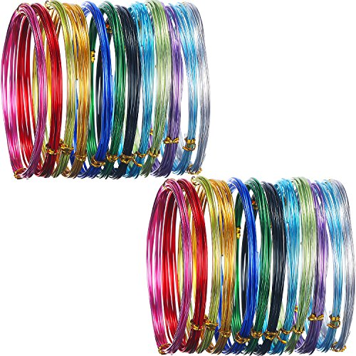 Shappy 24 Rolls Multi-Colored Aluminum Craft Wire, Flexible Metal for Art Creation and Jewelry Ornaments, 15 Gauge and 20 -