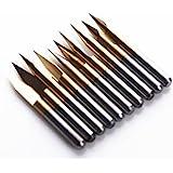SHINA 10x Titanium Coated Carbide PCB Engraving CNC Bit Router Tool 30 Degree 0.1mm 0.2mm Tip (Carbide, Tip: 0.1MM)