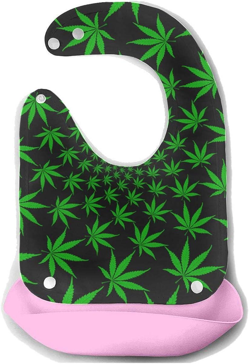 Big Girl Bibs Cannabis Hojas de marihuana Vintage Desmontable Alimentador de silicona Delantal Toalla de ratón Baby Feeding Dribble Drool Bib Baberos infantiles para niña