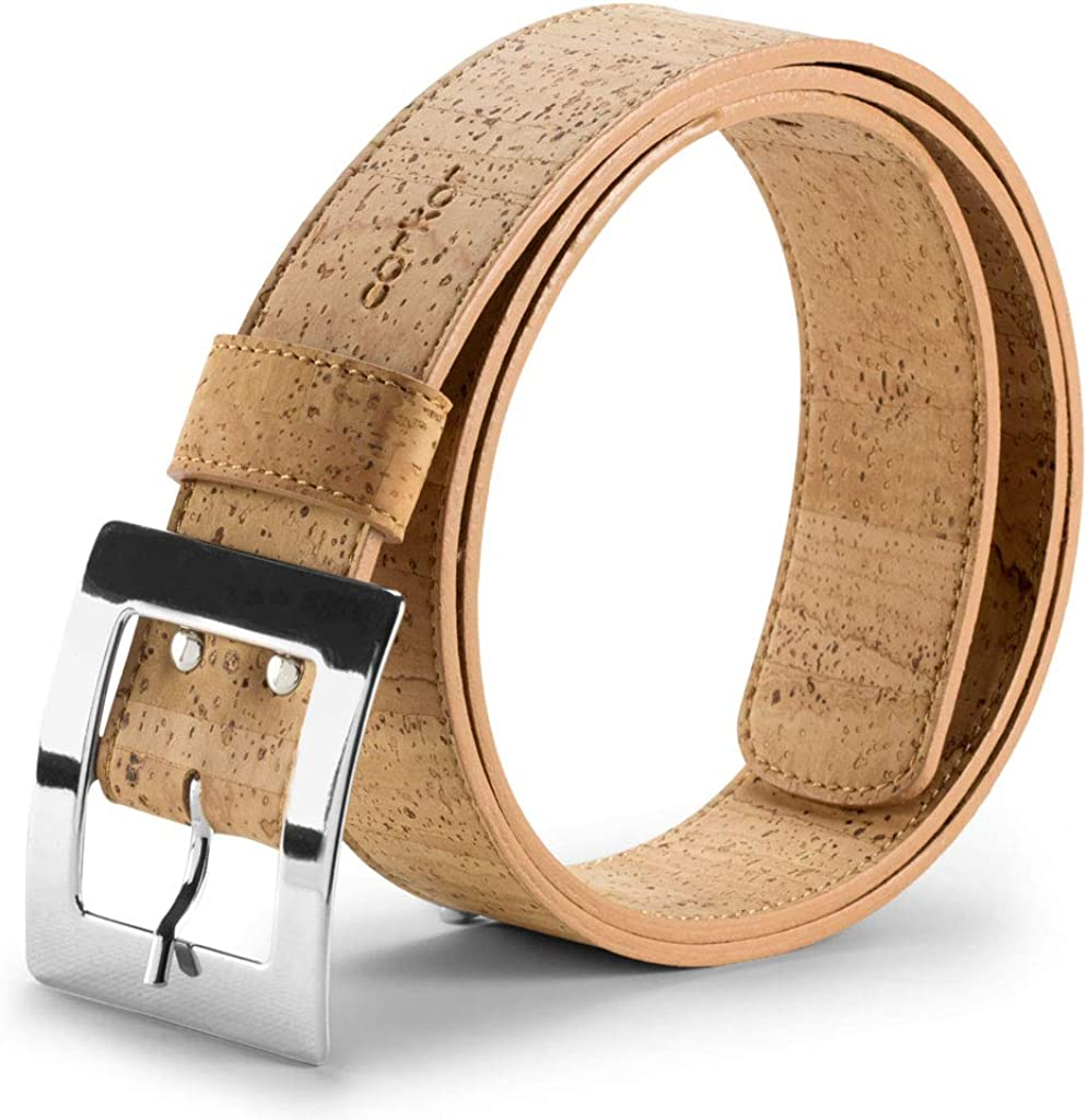 Corkor Cintur/ón para Mujer Con Hebilla Plateada Vegano de Corcho Natural