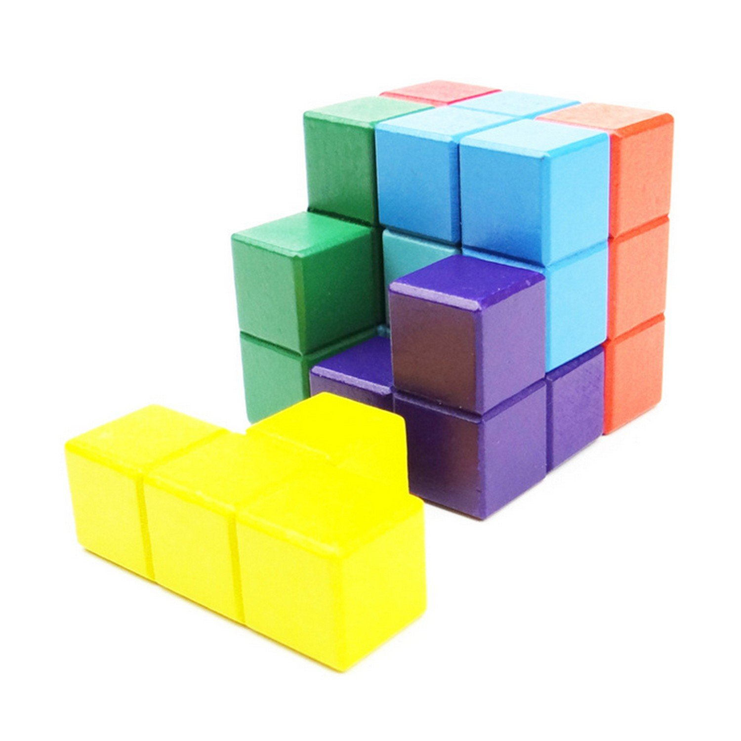 1 Set Educational Novelty 3D Wooden Puzzle Toys Children Tetris Blocks Magic Cube