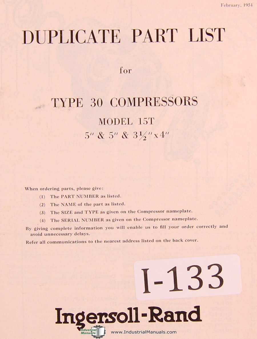 Ingersoll Rand Type 30, 15T Compressor Parts Lists Manual Year (1954): Ingersoll  Rand: Amazon.com: Books