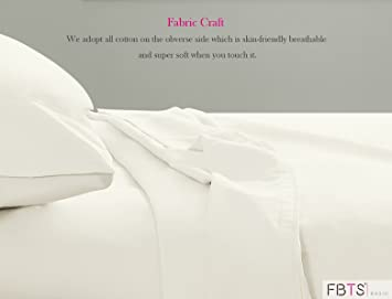 """FBTS Basic Sheet Sets Cotton Microfiber Interwoven (Queen, White) Luxury Fitted Sheets with 18"""" Deep Pockets Breathable Super Soft Bed Sheets"""