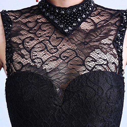 Emily Beauty Offen Spitze Rückenfrei seitiger Kleid Schwarz Nixe Cheongsam hoher Ansatz Zdqd4Txw