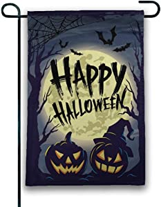 JANBOR Scary Forest with Pumpkin Bat Cobwebs Halloween Garden Flag 12 x 18 Inches, Vertical Double-Sided Applique Perfect for Outdoor Yard Decor