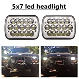 """(2 Pcs) DOT approved 5"""" x 7"""" 6x7inch Rectangular LED Headlights for Jeep Wrangler YJ Cherokee XJ Trucks 4X4 Offroad Headlamp Replacement H6054 H5054 H6054LL 69822 6052 6053"""