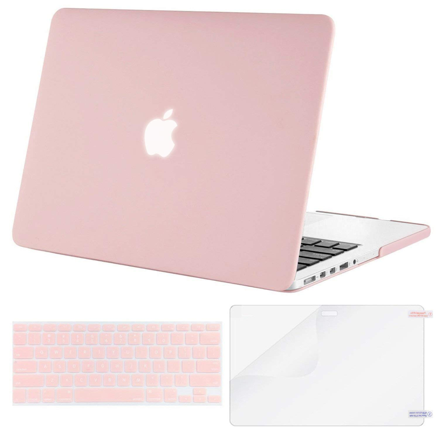 MOSISO Case Only Compatible with Older Version MacBook Pro 15 inch Model A1398 with Retina Display (2015 - end 2012 Release), Plastic Hard Shell & Keyboard Cover & Screen Protector, Rose Quartz