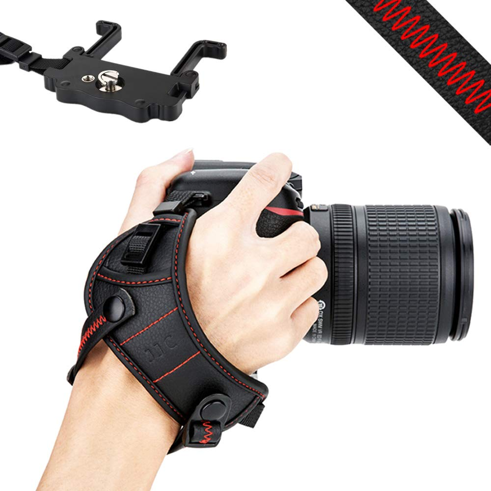 JJC デジタル一眼レフカメラ ハンドグリップストラップ リストストラップ Uプレートスタンド付き Nikon D850 D810 D750 D610 D7500 D7200 D7100 D5600 D5500 D3500 D3400 Canon 7DM2 6DM2 5DM4 5DM3 5Ds 5DsR 80D 77D 70D 60D T7i T6s T6i用 - レッド B07KXLHNKZ