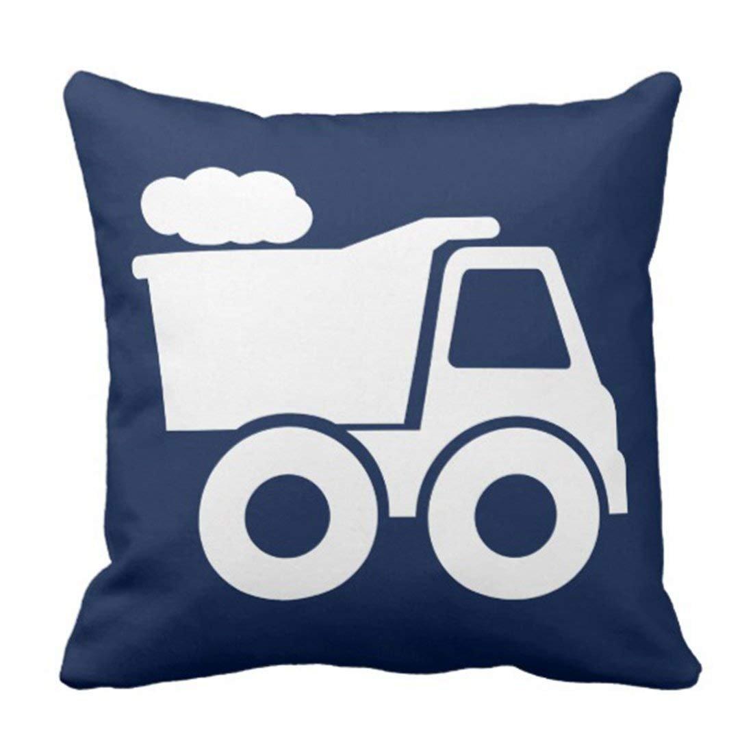 Feesoz Throw Pillow Cover Nursery Dump Truck in Navy Blue Construction Decorative Pillow Case Home Decor Square 18 x 18 inch Pillowcase