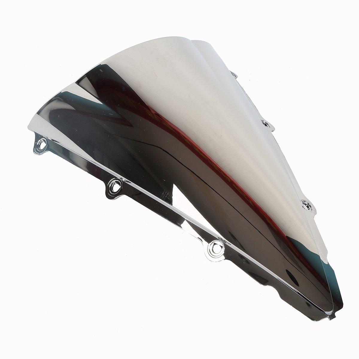Pulire Tengchang motocicletta Doppia protezione dello schermo del parabrezza bolla parabrezza per Yamaha YZF R1 2002 2003