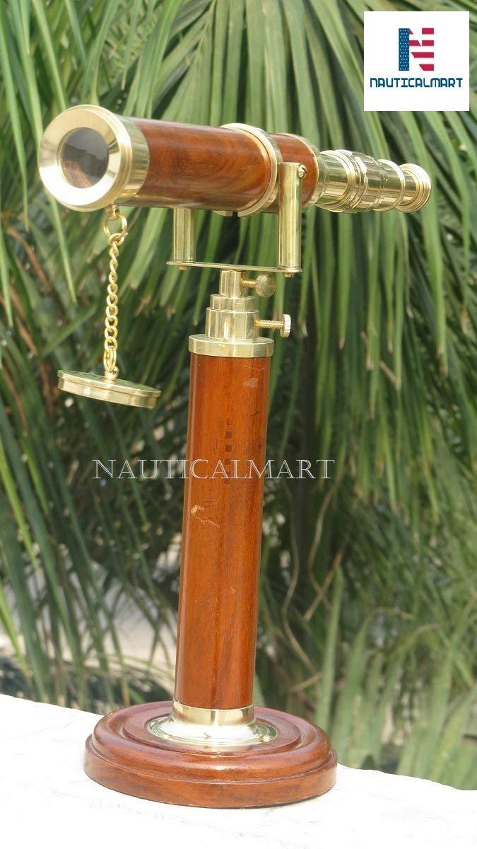NAUTICALMART ガリレオ 装飾 テーブルトップ 木製望遠鏡   B07JZF1CT9