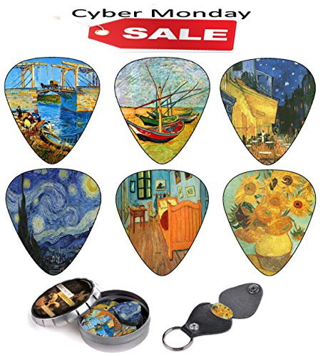 Vincent Van Gogh Guitar Picks Complete Christmas Gift Set For Guitarist    Celluloid Medium 12 Pack In A Tin Box   Picks Holder   Best Stocking Stuffer For Guitar Player   Cyber Monday Limited Deal