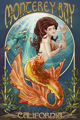 Monterey Bay  California   Mermaid  9X12 Art Print  Wall Decor Travel Poster